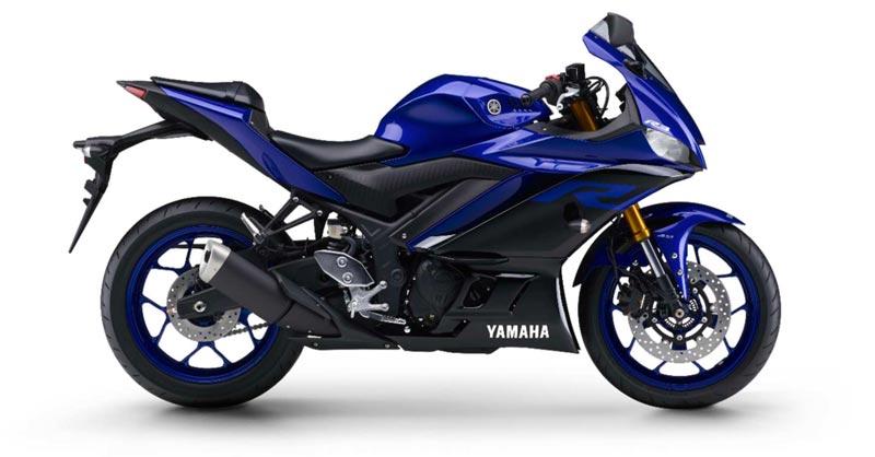 Lateral Segunda geração da nova  YZF-R3 ABS cor Azul Metálico (Racing Blue)